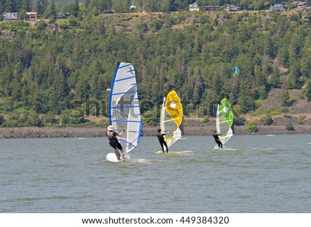 Wind surfing and water sports in Hood River Oregon. - stock photo