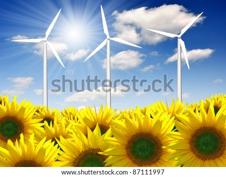 wind turbine against the blue sky - stock photo