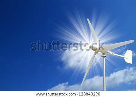 Wind Turbine and  Blue Sky with Light Beam - Clean Energy Concept