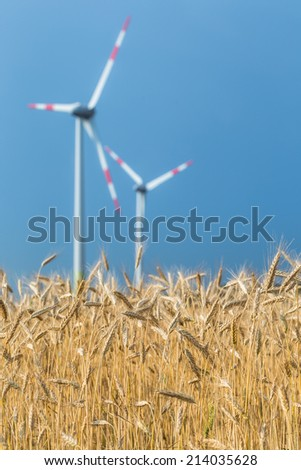 wind turbine and field of rye on background storm sky - stock photo