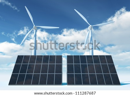 Wind Turbine and Solar Panel on background sky
