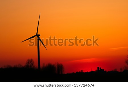 WInd Turbine at Twilight. Deckerville, Michigan.