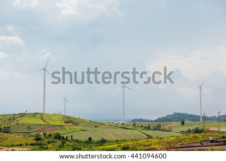 Wind turbine background on green field.