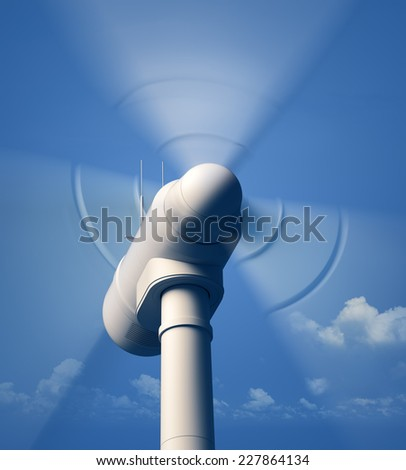 Wind Turbine blades spinning - closeup view with blue hazy sky - 3D artwork - stock photo