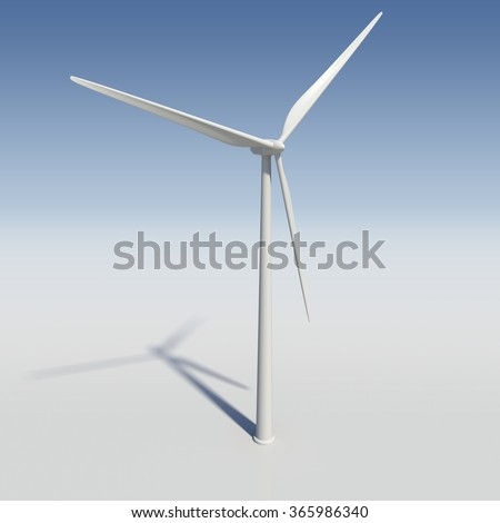 Wind turbine - 3D model rendering - stock photo