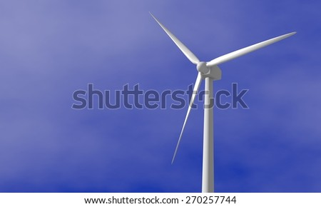 Wind Turbine - 3D rendered illustration - stock photo