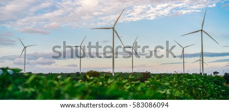 Wind turbine farm - Environment friendly. Sustainability development. Alternative and renewable energy.