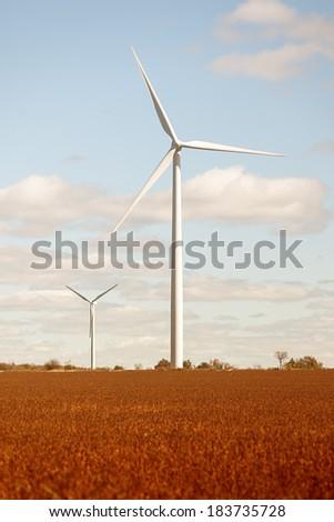 Wind Turbine, Farm Field - stock photo