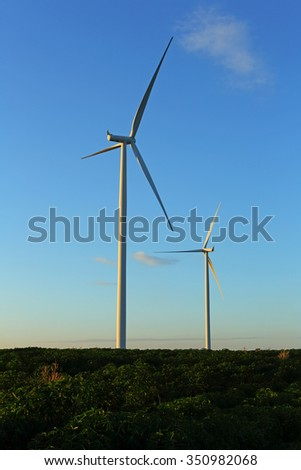 Wind turbine farm, generating electricity with blue sky background in Thailand - stock photo