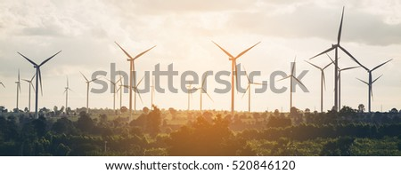 Wind turbine farm - renewable, sustainable and alternative energy.