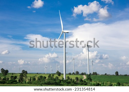 Wind Turbine Farm with blue sky