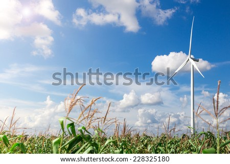 Wind Turbine Farm with Sunlight - stock photo