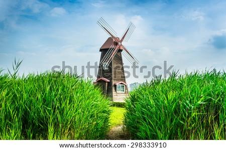 Wind turbine field for Sevilla  - stock photo