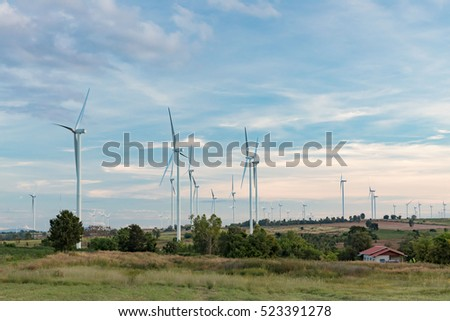 Wind turbine fields. Wind turbines generating electricity. Wind turbine fields in Thailand. Renewable Energy. Alternative energy.
