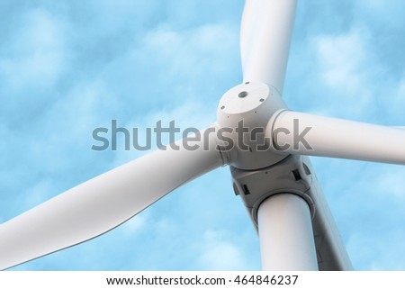 Wind turbine for electric power production. Toning photo.