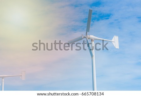 Wind Turbine for Electric with blue sky background