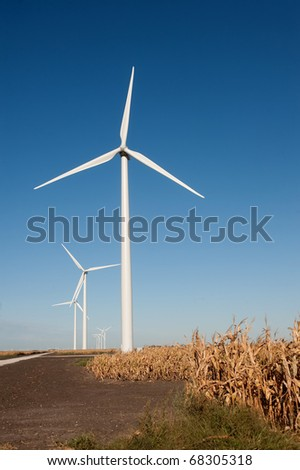 Wind turbine for energy production with corn field