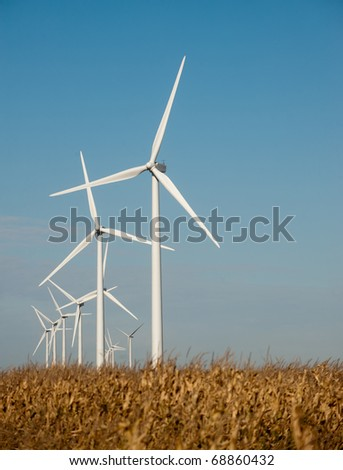 Wind turbine for energy production with corn field - stock photo