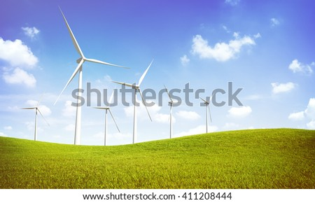 Wind Turbine Green Field Nature Concept - stock photo