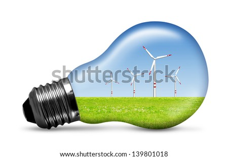 wind turbine in bulb isolated on white