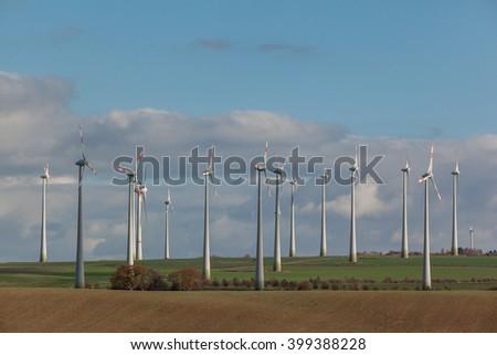 Wind turbine in the Harz, Germany - stock photo