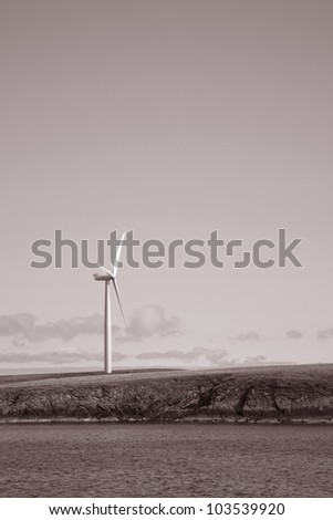 Wind Turbine in the Orkney Islands, Scotland - stock photo