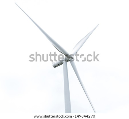 wind turbine in wind farm against cloudy sky - stock photo