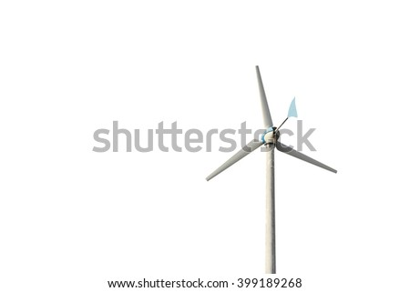 wind turbine isolate on white background , (with clipping path) - stock photo