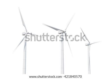 Wind turbine isolated on white background. 3d illustration
