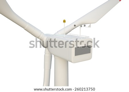 Wind turbine isolated on white background. 3d illustration high resolution - stock photo
