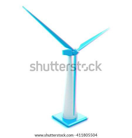 Wind turbine isolated on white . 3D illustration. Anaglyph. View with red/cyan glasses to see in 3D. - stock photo