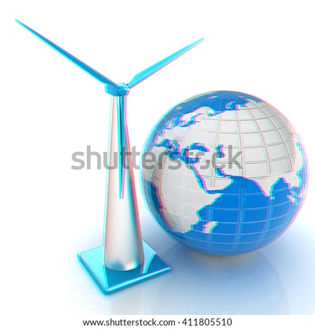 Wind turbine isolated on white. Global concept with eart. 3D illustration. Anaglyph. View with red/cyan glasses to see in 3D. - stock photo