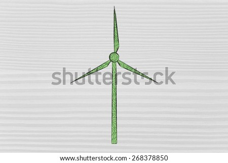 wind turbine made of green leaves: concept of sustainability