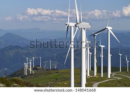 wind turbine maintenance - stock photo
