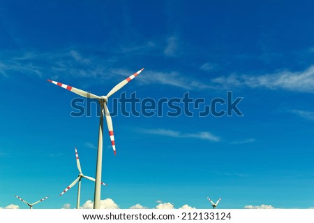 wind turbine of a wind power plant. obtaining alternative and sustainable energy for power generation - stock photo