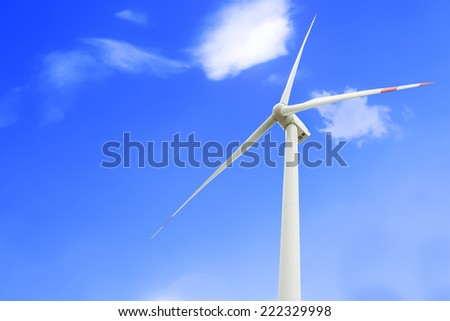 Wind Turbine on blue sky and cloud , Fuel and Power Generation