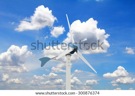 Wind turbine on  blue sky and many clouds background, (with clipping path) - stock photo