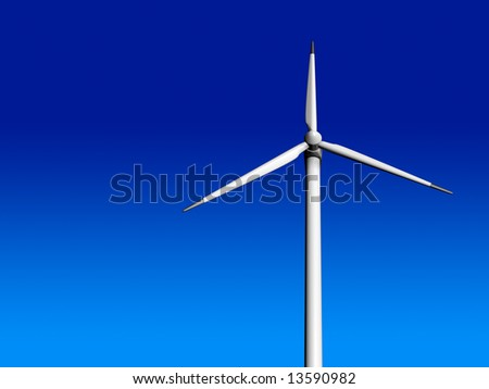Wind turbine on blue sky - 3d render