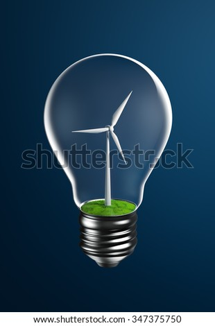 Wind turbine on grassland inside a light bulb representing clean energy