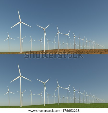 Wind turbine on landscape with variants of desert and grass field