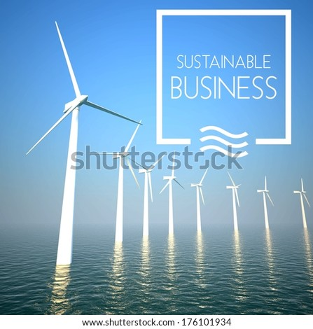 Wind turbine on sea as sustainable business concept - stock photo