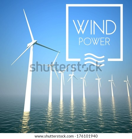 Wind turbine on sea generating electricity power - stock photo