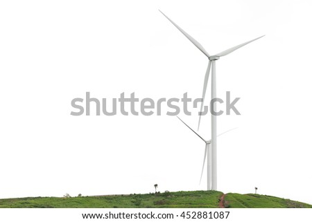 Wind turbine on the green grass on white background.