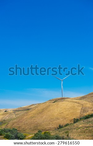 Wind Turbine on the mountain California - stock photo