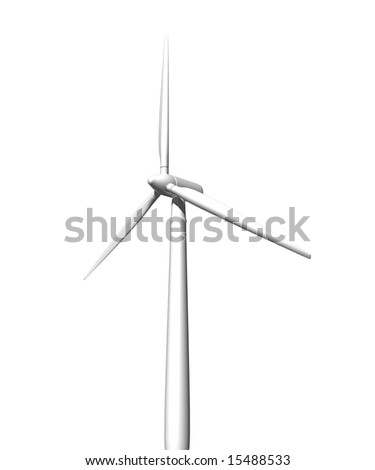 Wind turbine on white background. 3D image.