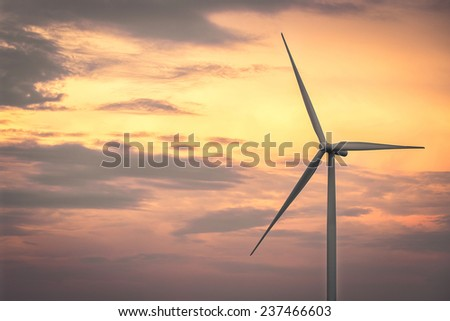 Wind turbine power generator at twilight time