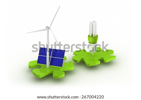 Wind turbine, solar panel and light bulb connect - stock photo