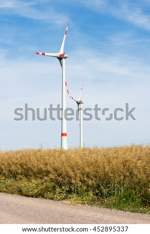 Wind turbine stands in an open space