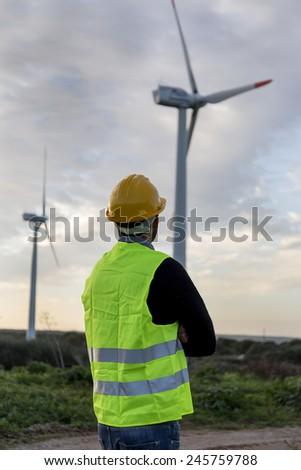 wind turbine worker  - stock photo