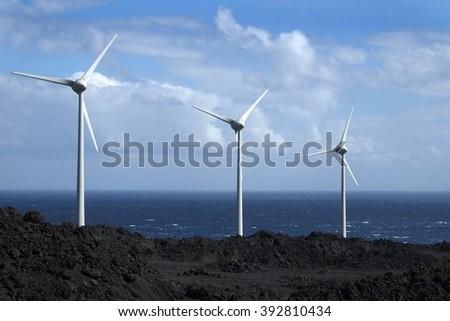 Wind turbines - stock photo